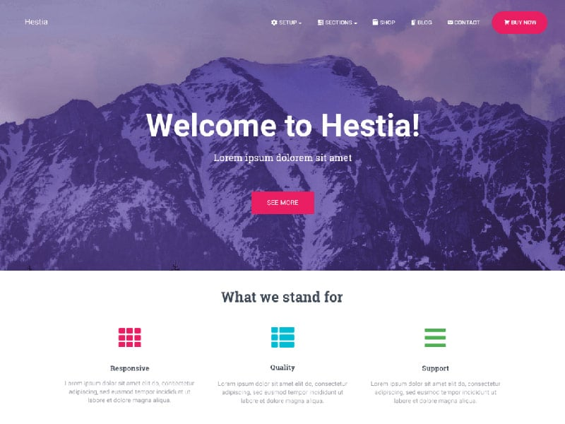 wordpress theme hestia