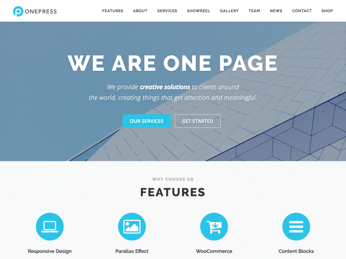 wordpress theme one press