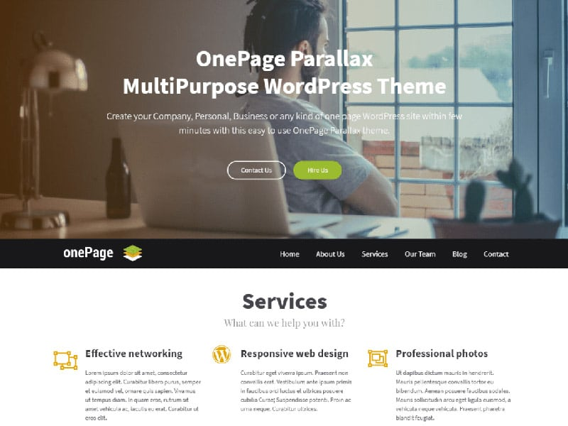 wordpress theme one page parallax