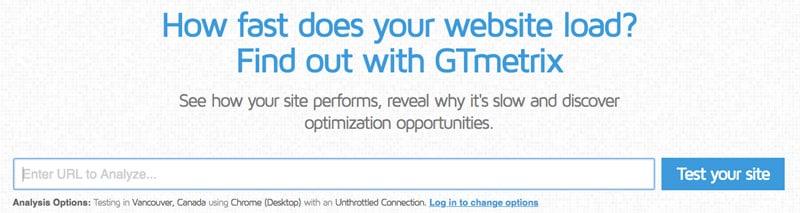 gtmetrix website test