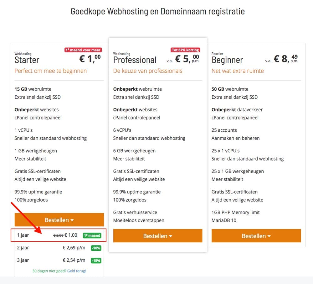 webhosting pakket kiezen