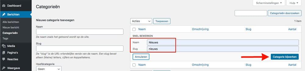 wordpress categorie aanpassen