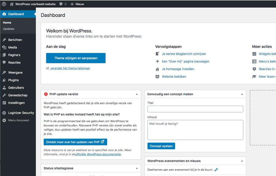wordpress dashboard na installatie