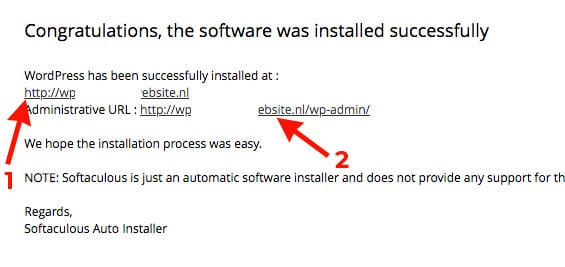 wordpress installatie succesvol