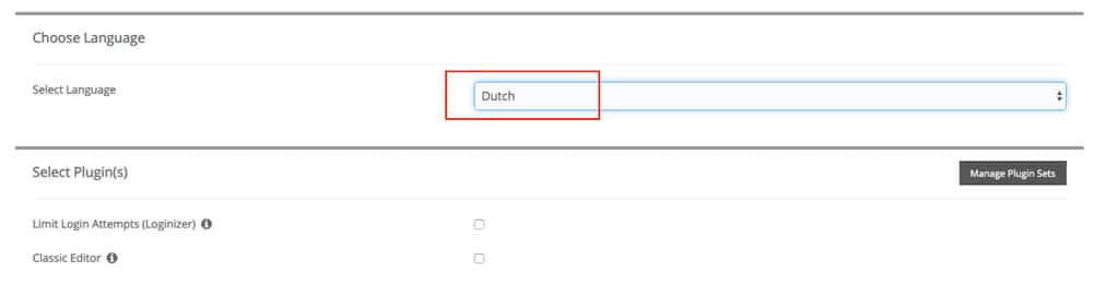 wordpress installeren taal kiezen