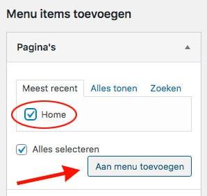 wordpress menu pagina toevoegen