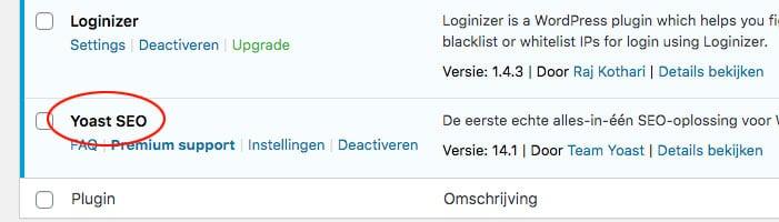 wordpress nieuwe plugin actief