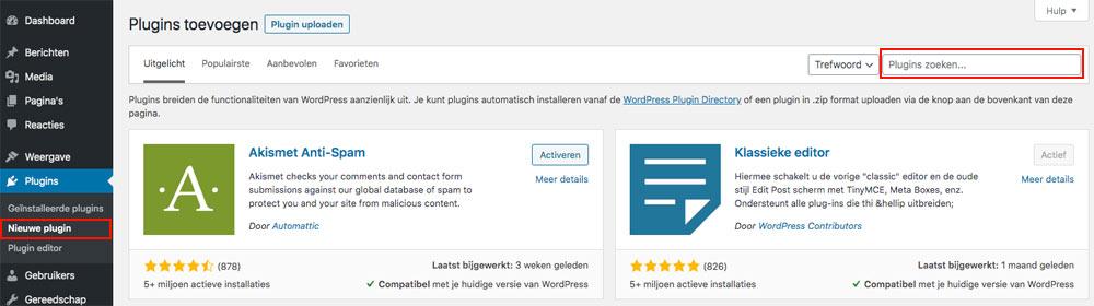 wordpress nieuwe plugin zoeken