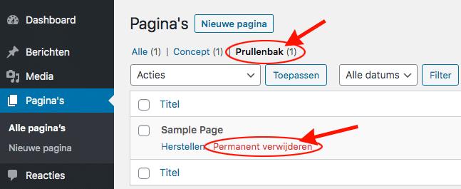 wordpress pagina prullenbak