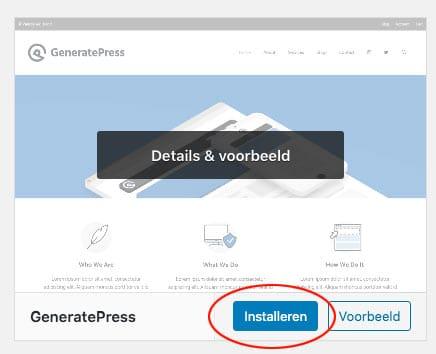 wordpress theme installatie