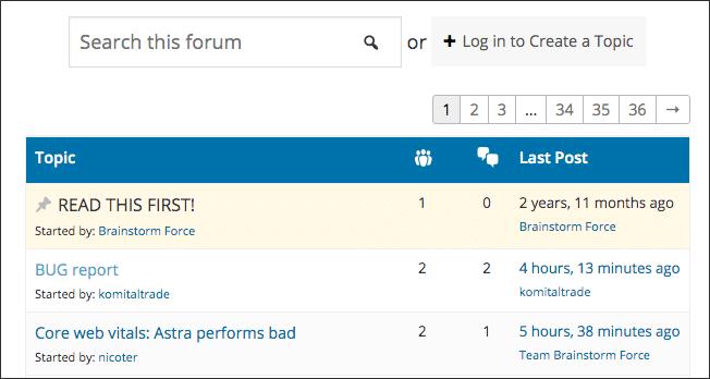 forum de support de thème wordpress