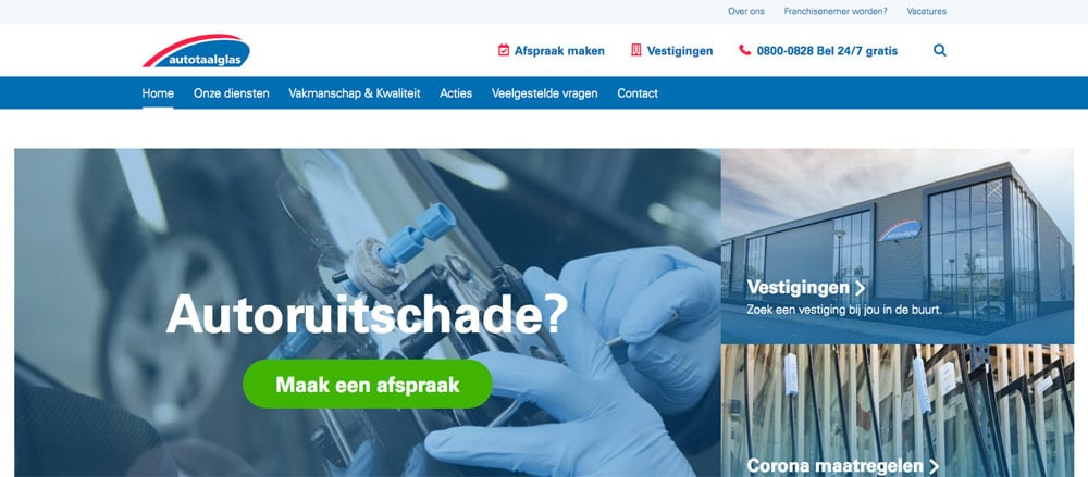 autototaalglas wordpress website