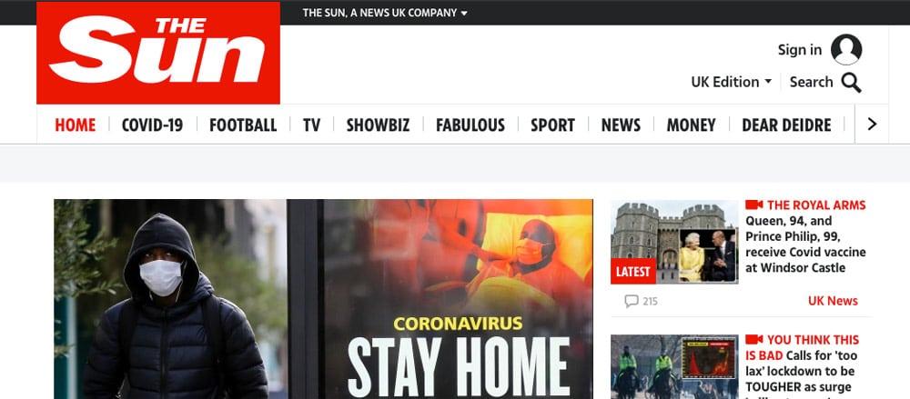 wordpress nieuws website the sun