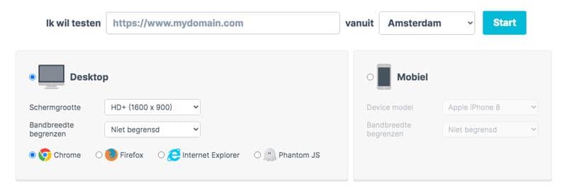 test de vitesse de site Web à la hausse